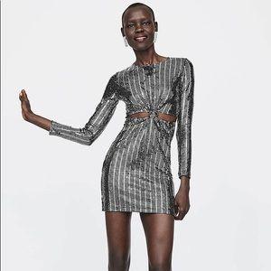 NWOT Zara sequin knot short night out dress
